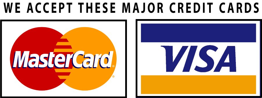 We accept these major credit cards MasterCard and VISA